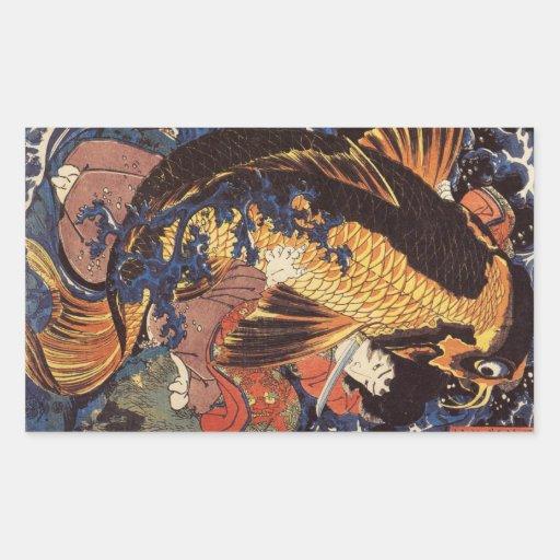 Etiquetas de Koi do japonês do vintage Adesivo Retangular