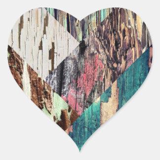 Etiquetas de madeira da colagem da textura adesivo coração