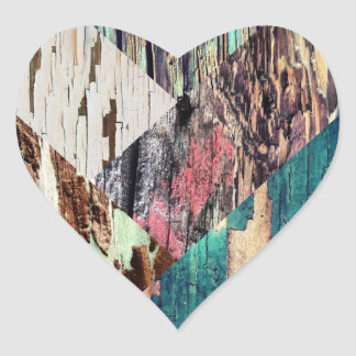 Etiquetas de madeira da colagem da textura adesivos de corações