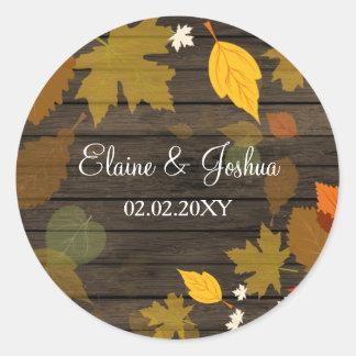 Etiquetas de madeira do casamento outono do