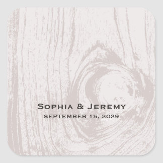 etiquetas de madeira rústicas do casamento outono adesivo quadrado