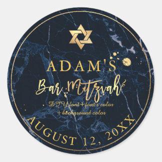 Etiquetas de mármore de PixDezines Mitzvah/azul da