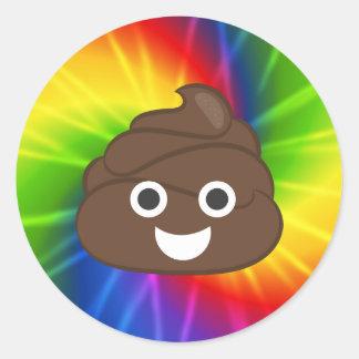 Etiquetas de Poo Emoji do arco-íris da tintura do