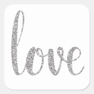 Etiquetas de prata do amor do brilho, quadrado