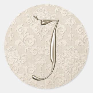 Etiquetas de prata do casamento do monograma - adesivo