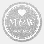 Etiquetas de prata do favor do casamento do adesivo