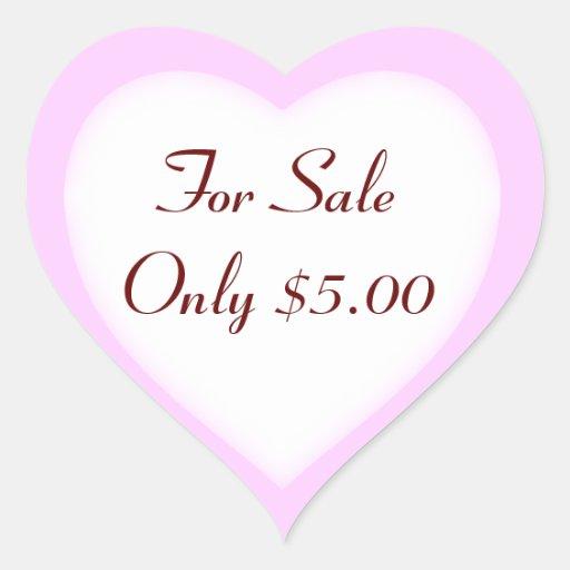 Etiquetas de preço da venda de garagem e da venda adesivo em forma de coração