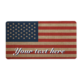 Etiquetas de Shipiping com a bandeira americana