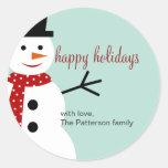 Etiquetas de sorriso do favor do feriado do boneco adesivo em formato redondo