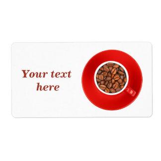 Etiquetas de transporte com os feijões de café etiqueta de frete