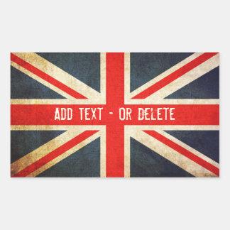 Etiquetas de Union Jack do Grunge/etiquetas britân Adesivo Retangular