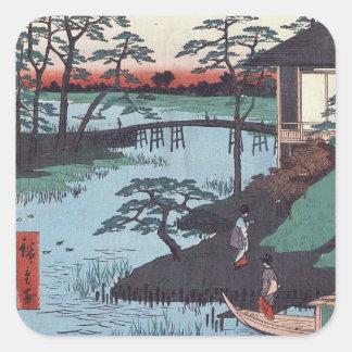 Etiquetas de Woodblock do japonês do vintage Adesivo Em Forma Quadrada