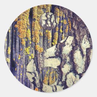 Etiquetas de Yin Yang do latido de árvore Adesivos Em Formato Redondos