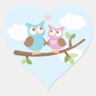 Etiquetas do amor da coruja adesivo em forma de coração