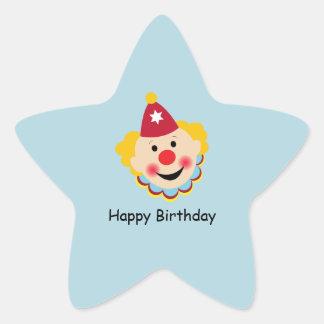 Etiquetas do aniversário da cara do palhaço adesito estrela