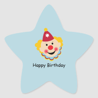 Etiquetas do aniversário da cara do palhaço adesivos em forma de estrelas