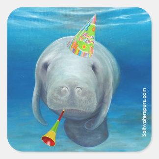 Etiquetas do aniversário do peixe-boi