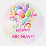 Etiquetas do aniversário dos balões adesivo em formato redondo