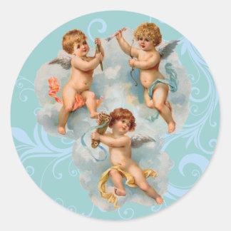Etiquetas do anjo do Victorian Adesivo Em Formato Redondo