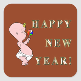 Etiquetas do ano novo do bebê adesivo quadrado