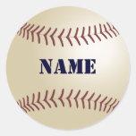Etiquetas do basebol - adicione seu nome adesivo em formato redondo