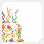 Etiquetas do bolo de aniversário adesivo em forma quadrada
