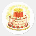 Etiquetas do bolo do feliz aniversario do vintage adesivo redondo