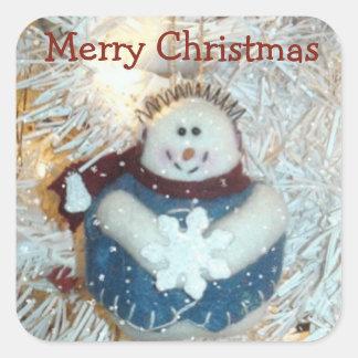 Etiquetas do boneco de neve do Feliz Natal Adesivo Quadrado