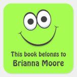 Etiquetas do bookplate da cara dos desenhos adesivos quadrados