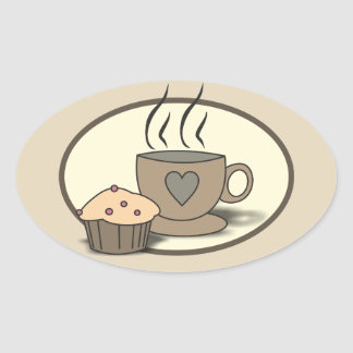 Etiquetas do café e do muffin para amantes do café adesivo oval