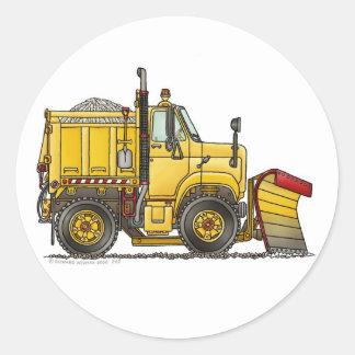 Etiquetas do caminhão do arado de neve adesivos em formato redondos