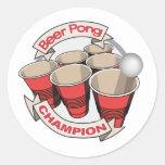 Etiquetas do campeão de Pong da cerveja Adesivos Redondos