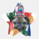 Etiquetas do cão do Pug do feliz aniversario Adesivo Estrela
