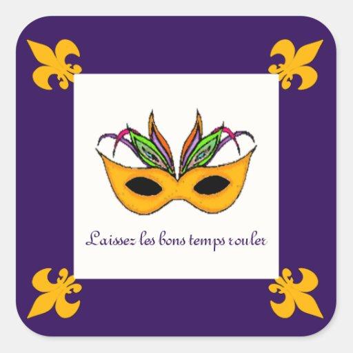 Etiquetas do carnaval da máscara da flor de lis adesivo em forma quadrada