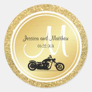 Etiquetas do casamento da motocicleta do monograma adesivo