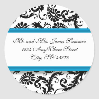 Etiquetas do casamento do endereço do damasco do adesivo