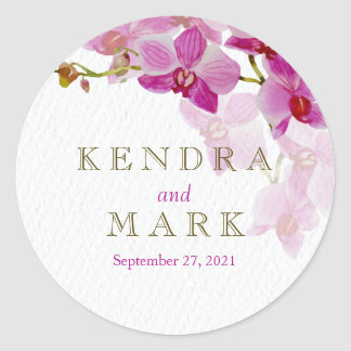 Etiquetas do casamento do paraíso da orquídea