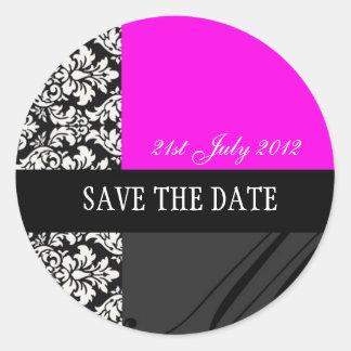 Etiquetas do casamento tema damasco do rosa quente adesivo
