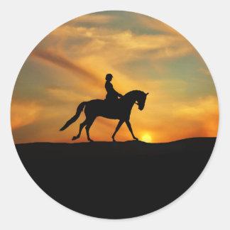 Etiquetas do cavalo e do cavaleiro do adestramento