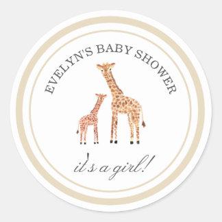 Etiquetas do chá de fraldas do girafa adesivo