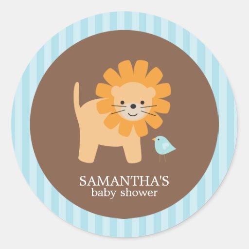 Etiquetas do chá de fraldas dos amigos do safari adesivos redondos