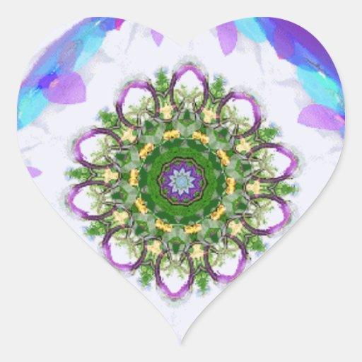 Etiquetas do coração 2 do caleidoscópio adesivo em forma de coração