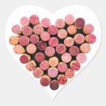 Etiquetas do coração da cortiça do vinho adesivos de corações
