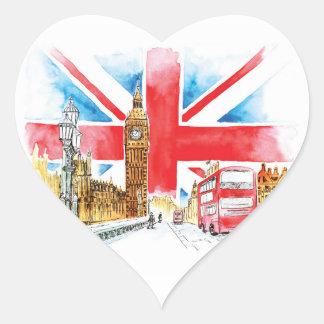Etiquetas do coração de Londres Big Ben, lustrosas
