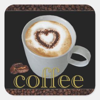 Etiquetas do coração do amor do café adesivo quadrado