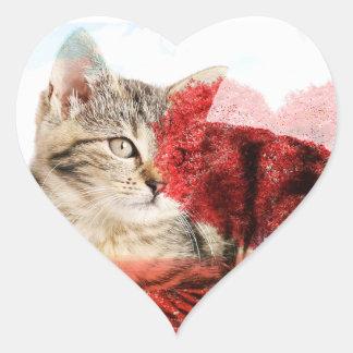 Etiquetas do coração do gato malhado