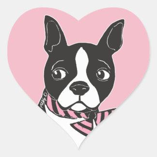 Etiquetas do coração do rosa da arte de Boston
