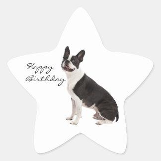 Etiquetas do costume do feliz aniversario do cão adesivos em forma de estrelas