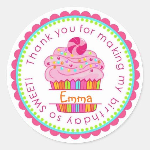 Etiquetas do cupcake da surpresa dos doces adesivos em formato redondos