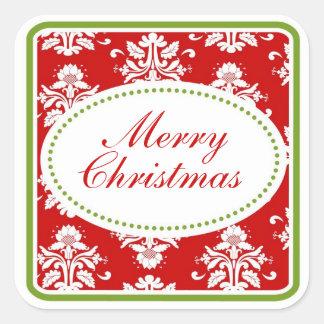 Etiquetas do damasco do Natal Adesivo Em Forma Quadrada